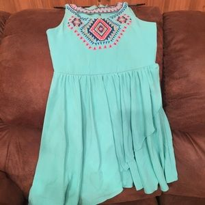 Turquoise with navy corral and gold accents dress